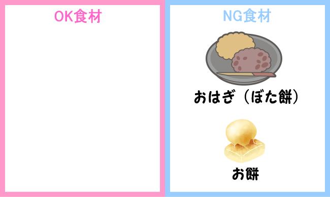 NG食材 お餅