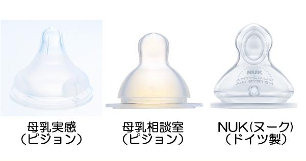 哺乳瓶の乳首を比較